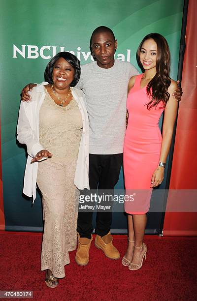 Actors Loretta Devine, Jerrod Carmichael and Amber West attend the 2015 NBCUniversal Summer Press Day held at the The Langham Huntington Hotel and...