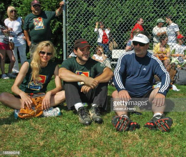Actors Lori Singer Greg Bello and Alec Baldwin attend the 61st Annual Artist vs Writers Charity softball game at Herrick Park on August 15 2009 in...