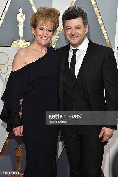 Actors Lorraine Ashbourne and Andy Serkis attend the 88th Annual Academy Awards at Hollywood Highland Center on February 28 2016 in Hollywood...