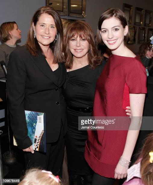 Actors Lorraine Bracco Marlo Thomas and Anne Hathaway at the PreParty for the Saks Fifth Avenue Holiday Window Unveiling at Channel Garden at Saks...
