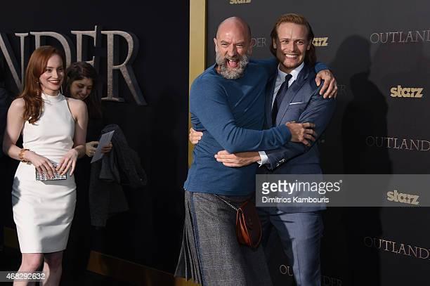 Actors Lotte Verbeek Graham McTavish and Sam Heughan attend the Outlander midseason New York premiere at Ziegfeld Theater on April 1 2015 in New York...