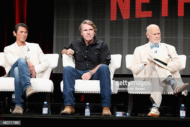 Actors Lou Diamond Phillips Robert Taylor and Gerald McRaney speak onstage during the Longmire panel discussion at the Netflix portion of the 2015...
