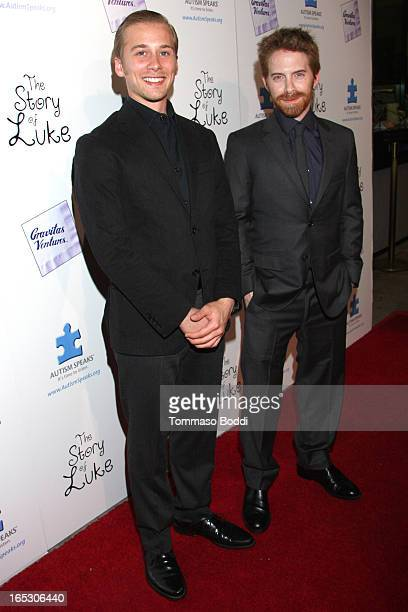 Actors Lou Taylor Pucci and Seth Green attend the 'The Story Of Luke' Los Angeles premiere held at the Laemmle Music Hall on April 2 2013 in Beverly...