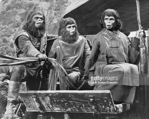 Actors Lou Wagner as Lucius and Kim Hunter as Zira in the film 'Planet of the Apes' 1968