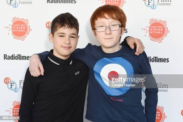 Actors Louis Dunn and Jonnie Kimmins attend the BFI Radio Times TV Festival at BFI Southbank on April 9 2017 in London England