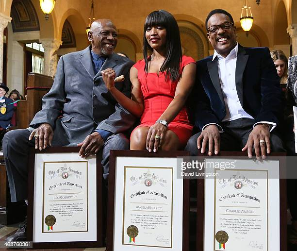 Actors Louis Gossett Jr and Angela Bassett and recording artist Charlie Wilson are honored at the LA City Council's African American Heritage Month...