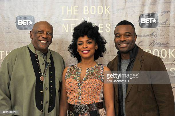 "Actors Louis Gossett Jr., Aunjanue Ellis and Lyriq Bent attend ""The Book of Negroes"" sceening at Dunbar High School on January 22, 2015 in..."