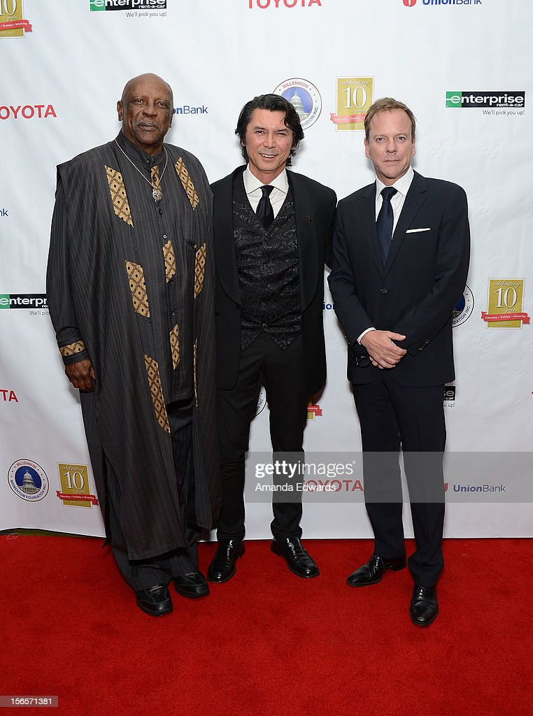 Actors Louis Gossett Jr., Lou Diamond Phillips and Kiefer Sutherland arrive at the 10th Annual Opening Doors Awards benefiting the Millennium Momentum Foundation at Dorothy Chandler Pavilion on November 16, 2012 in Los Angeles, California.