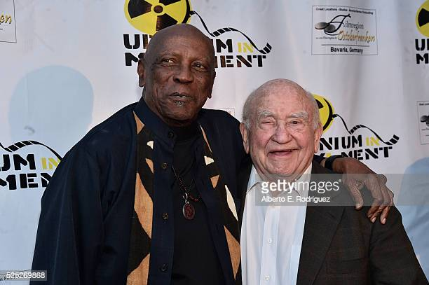 """Actors Louis Gossette Jr. And Ed Asner attend the Atomic Age Cinema Fest Premiere of """"The Man Who Saved The World"""" at Raleigh Studios on April 27,..."""
