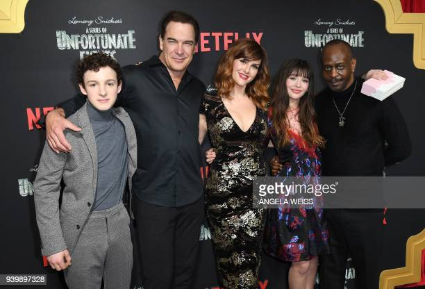 Actors Louis Hynes Patrick Warburton Sara Rue and Malina Weissman attend the Netflix Premiere of 'A Series of Unfortunate Events' Season 2 on March...
