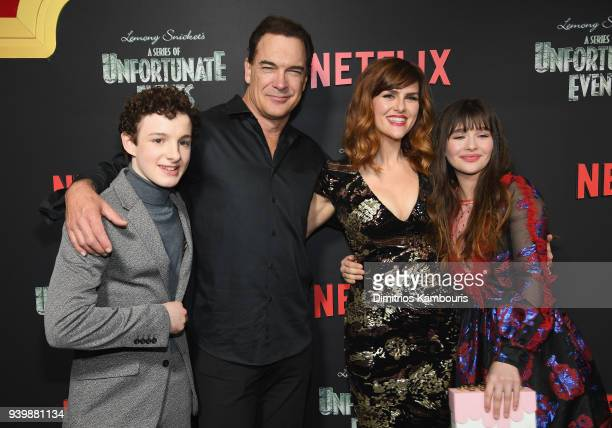 Actors Louis Hynes Patrick Warburton Sarah Rue and Malina Weissman attend the Netflix Premiere of 'A Series of Unfortunate Events' Season 2 on March...