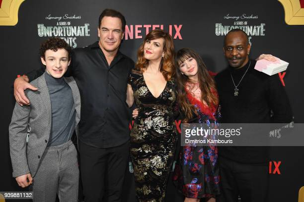 Actors Louis Hynes Patrick Warburton Sarah Rue Malina Weissman and K Todd Freeman attend the Netflix Premiere of 'A Series of Unfortunate Events'...