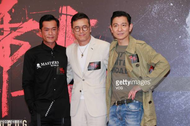 Actors Louis Koo Tinlok Michael Miu Kiuwai and Andy Lau Takwah attend a press conference of director Herman Yau Laito's film 'the White Storm 2 Drug...