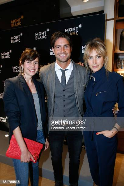 Actors Louise Monot Tom Leeb and Pauline Lefevre attend the Montblanc ChampsElysees Flagship Reopening on May 18 2017 in Paris France