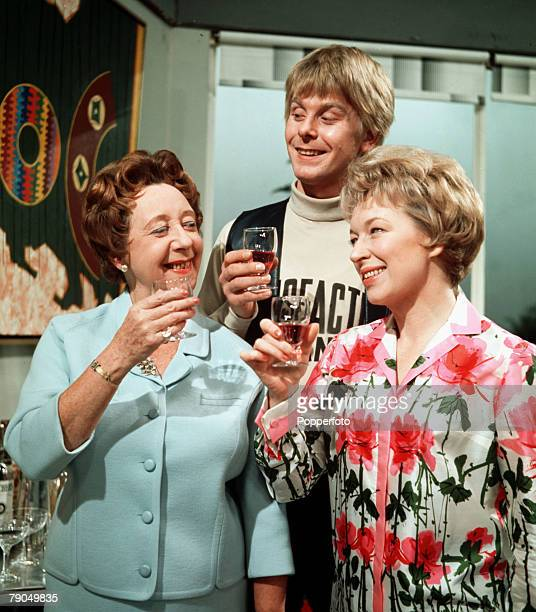 Mona Washbourne Joe Brown and June Whitfield are pictured in a scene from the play What's a Mother for