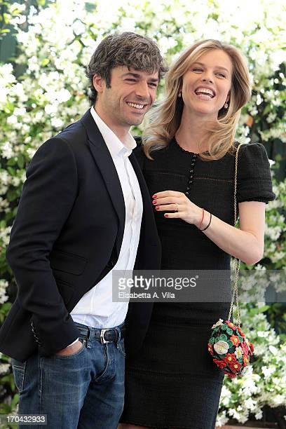 Actors Luca Argentero and Eva Herzigova attend 'Cha Cha Cha' photocall at Hotel Bernini Bristol on June 13 2013 in Rome Italy