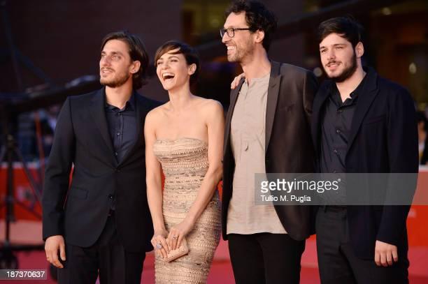 Actors Luca Marinelli, Camilla Filippi, director Alessandro Lunardelli and actor Filippo Scicchitano attends 'Il Mondo Fino In Fondo' Premiere during...