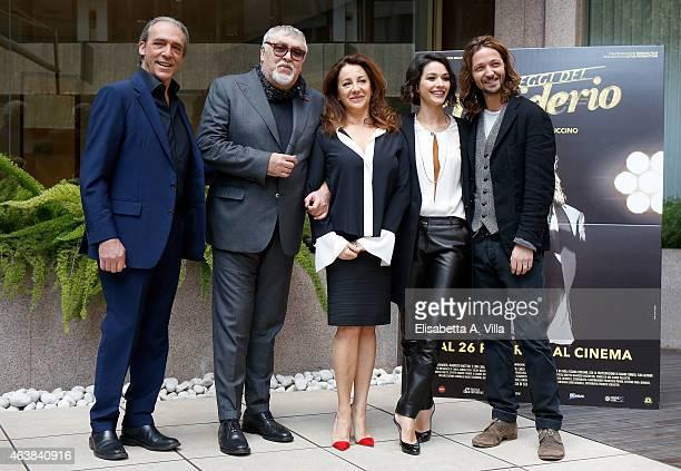 Actors Luca Ward and Maurizio Mattioli actresses Carla Signoris and Nicole Grimaudo and director Silvio Muccino attend 'Le Leggi Del Desiderio'...