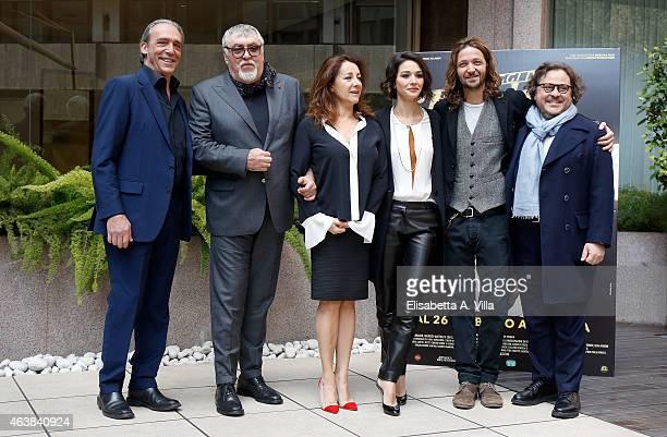 Actors Luca Ward and Maurizio Mattioli actresses Carla Signoris and Nicole Grimaudo director Silvio Muccino and producer Marco Belardi attend 'Le...