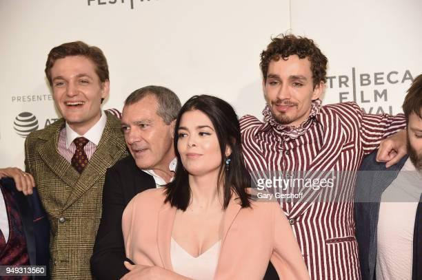 Actors Lucas Arthur Englander, Antonio Banderas, Samantha Colley and Robert Sheehan attend 'Genius: Picasso' during the 2018 Tribeca Film Festival at...