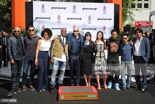 Actors Lucas Black Nathalie Emmanuel Tyrese Gibson Vin Diesel Michelle Rodriguez Jordana Brewster Ludacris and Tatchakorn Yeerum attend Vin Diesel's...