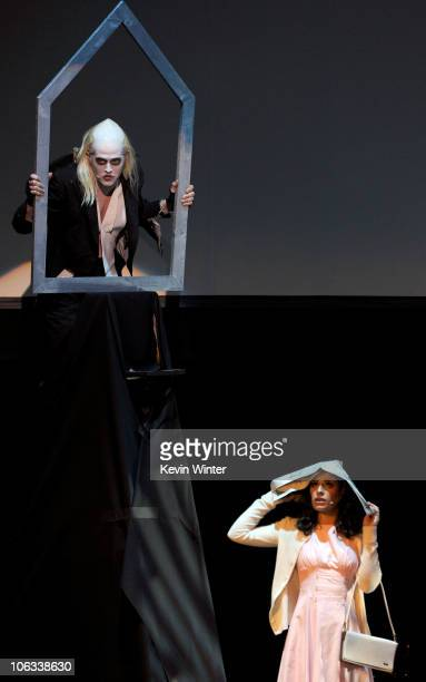Actors Lucas Grabeel and Lea Michele perform onstage during The Rocky Horror Picture Show 35th anniversary to benefit The Painted Turtle at The...