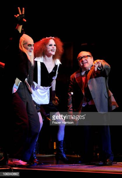 Actors Lucas Grabeel Evan Rachel Wood and Danny DeVito perform onstage during The Rocky Horror Picture Show 35th anniversary to benefit The Painted...