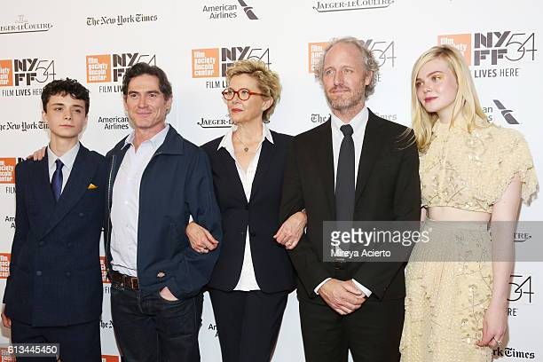 Actors Lucas Jade Zumann Billy Crudup and Annette Bening director Mike Mills and actress Elle Fanning attend the premiere of 20th Century Women at...