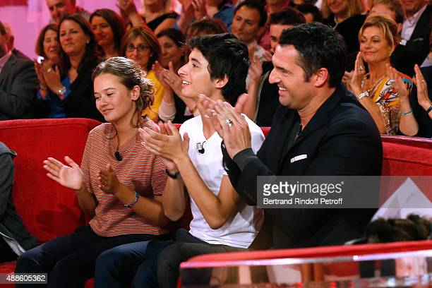 Actors Lucie Fagedet Orfeo Campanella and Arnaud Ducret present the TV Series Parents mode d'emploi during the 'Vivement Dimanche' French TV Show at...