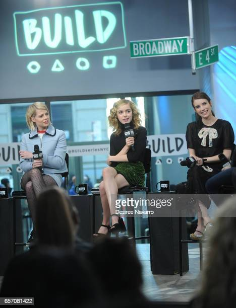 Actors Lucy Boynton Kiernan Shipka and Emma Roberts attend Build Series to discuss 'The Blackcoat's Daughter' at Build Studio on March 23 2017 in New...