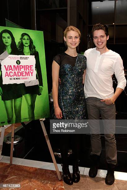 Actors Lucy Fry and Dominic Sherwood greet guests and sign autographs at The Cast Of 'Vampire Academy' Meet Fans at Westfield Garden State Mall on...