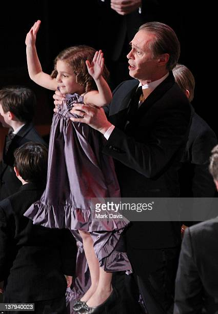 Actors Lucy Gallina and Steve Buscemi onstage during The 18th Annual Screen Actors Guild Awards broadcast on TNT/TBS at The Shrine Auditorium on...