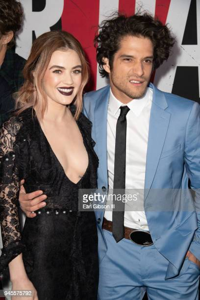 Actors Lucy Hale and Tyler Posey attend the premiere of Universal Pictures 'Blumhouse's Truth Or Dare' at ArcLight Cinemas Cinerama Dome on April 12...
