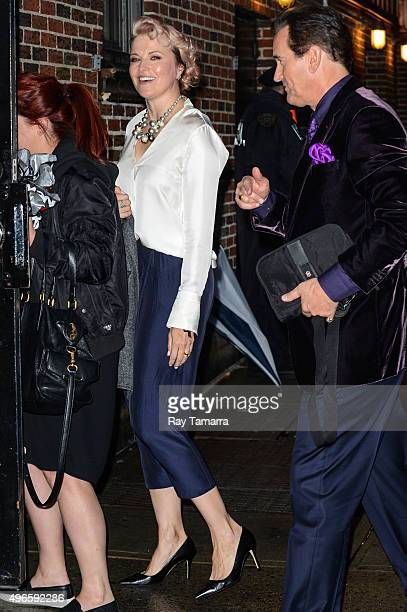 Actors Lucy Lawless and Bruce Campbell enter the 'The Late Show With Stephen Colbert' taping at the Ed Sullivan Theater on November 10 2015 in New...