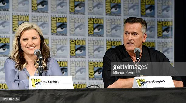 Actors Lucy Lawless and Bruce Campbell speak on stage during the 'Ash vs Evil Dead' panel during ComicCon International at the San Diego Convention...