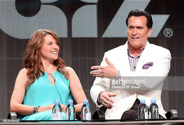 Actors Lucy Lawless and Bruce Campbell speak onstage during the 'Ash vs Evil Dead' panel discussion at the STARZ portion of the 2015 Summer TCA Tour...
