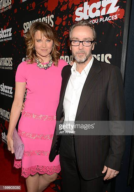 Actors Lucy Lawless and John Hannah attend the Spartacus War Of The Damned premiere at Regal Cinemas LA LIVE Stadium 14 on January 22 2013 in Los...
