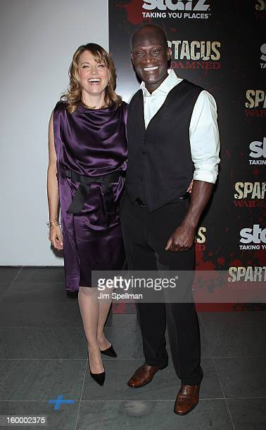 Actors Lucy Lawless and Peter Mensah attends the 'Spartacus War Of The Damned' Series Finale Premiere at the Museum of Modern Art on January 24 2013...