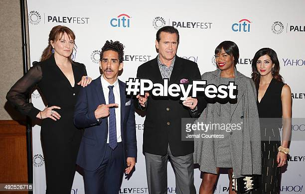 Actors Lucy Lawless Ray Santiago Bruce Campbell Jill Marie Jones and Dana DeLorenzo attend the Ash Vs Evil Dead panal event during the PaleyFest New...