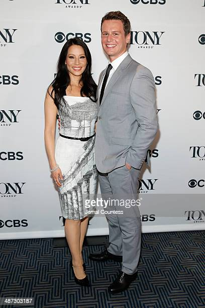 Actors Lucy Liu and Jonathan Groff attend the 2014 Tony Awards Nominations Ceremony at the Diamond Horseshoe at the Paramount Hotel on April 29 2014...