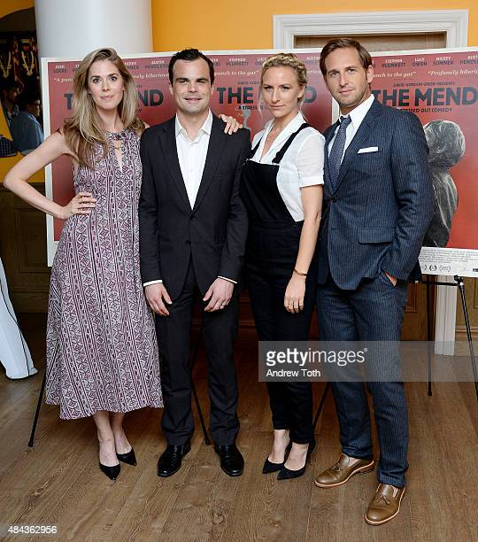 Actors Lucy Owen Stephen Plunkett Mickey Sumner and Josh Lucas attend The Mend New York premiere at Crosby Street Hotel on August 17 2015 in New York...