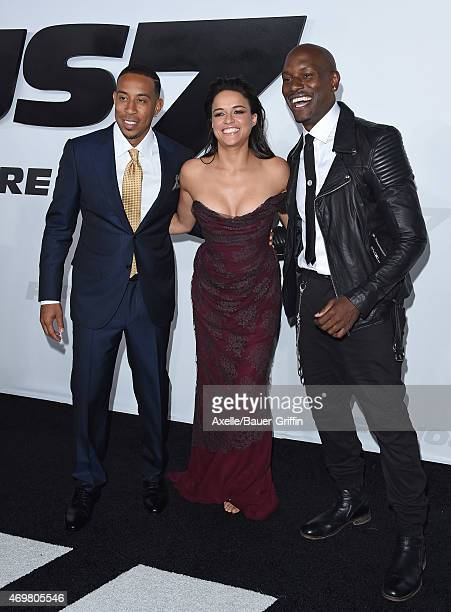 Actors Ludacris Michelle Rodriguez and Tyrese Gibson arrive at the Los Angeles premiere of 'Furious 7' at TCL Chinese Theatre IMAX on April 1 2015 in...