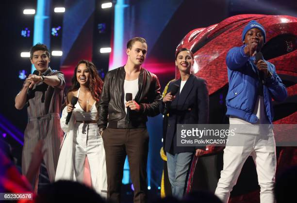 Actors Ludi Lin Becky G Dacre Montgomery Naomi Scott and RJ Cyler of 'Power Rangers' speak onstage at Nickelodeon's 2017 Kids' Choice Awards at USC...