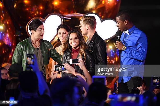 Actors Ludi Lin Naomi Scott Becky G Dacre Montgomery and RJ Cyler speak onstage at the MTV Fandom Awards San Diego at PETCO Park on July 21 2016 in...