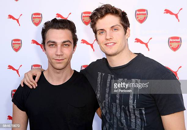 Actors Luke Brandon Field and Daniel Sharman attend PUMA and Arsenal Football Club 2016/17 AFC Away Third Kit reveal event on July 29 2016 in Culver...