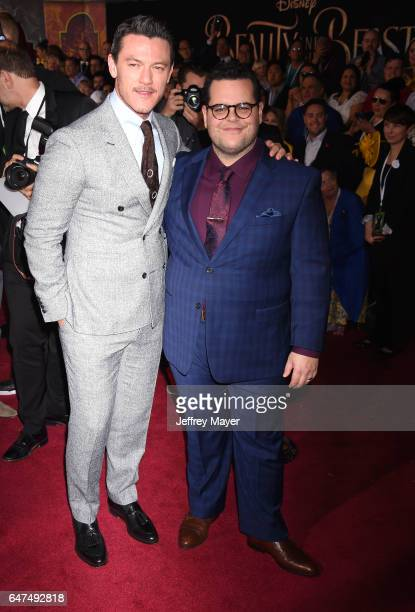 Actors Luke Evans and Josh Gad arrive at the Premiere Of Disney's 'Beauty And The Beast' at the El Capitan Theatre on March 2 2017 in Los Angeles...