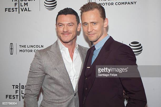 Actors Luke Evans and Tom Hiddleston attend 'HighRise' New York premiere during the 2016 Tribeca Film Festival at SVA Theatre 2 on April 20 2016 in...