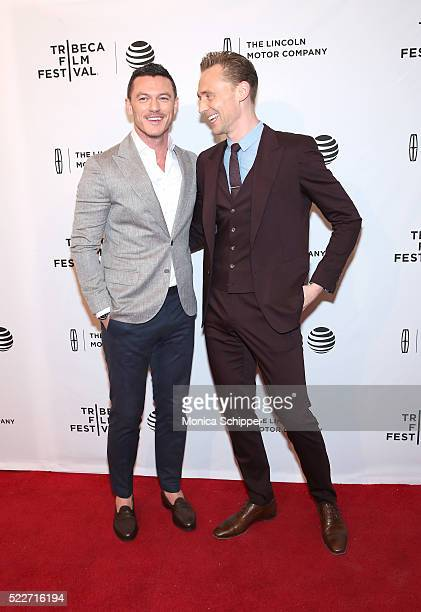 Actors Luke Evans and Tom Hiddleston attend HighRise Premiere 2016 Tribeca Film Festival at SVA Theatre 2 on April 20 2016 in New York City