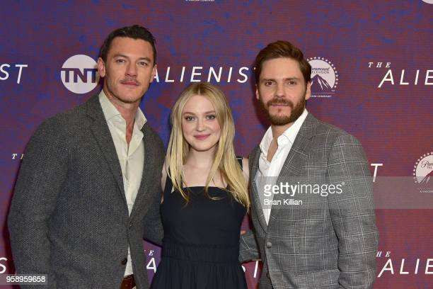 """Actors Luke Evans, Dakota Fanning and Daniel Bruehl, wears BOSS, attend the Emmy For Your Consideration - """"The Alienist"""" at 92nd Street Y on May 15,..."""