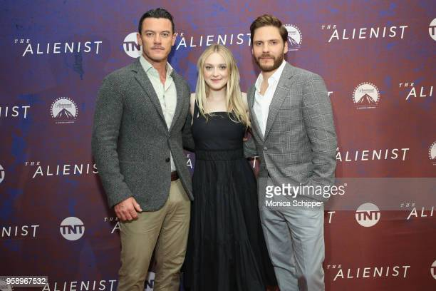"""Actors Luke Evans, Dakota Fanning and Daniel Bruehl, wears BOSS, attend """"The Alienist"""" FYC Event at the 92nd Street Y on May 15, 2018 in New York..."""
